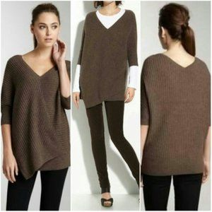 Vince Brown Ribbed Asymmetrical Dolman Sweater